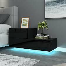 Two Drawer lED Nightstand Black