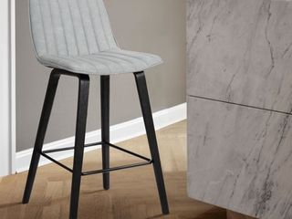 lorenz 26in Gray Faux leather Barstool In Black Brushed Wood Finish Retail 134 99