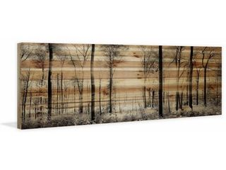 Handmade Panoramic Forest Print on Natural Pine Wood Retail 205 49