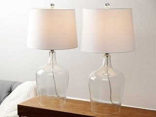 Abbyson Azure Clear Glass 27 5in Table lamps   Set of 2