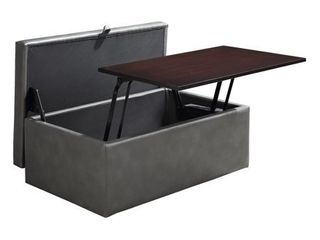 OSP Home Furnishings Elmington Storage Ottoman with lift Top in Pewter Vinyl