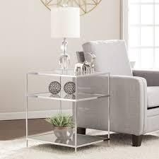 Grant Glam Mirrored Side Table Chrome