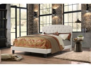 Best Quality Furniture Upholstered Button Tufted Panel Bed   Queen   Retail 226 49