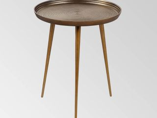 Antique Brass  Everts Modern Aluminum Accent Table by Christopher Knight Home  Retail 107 49