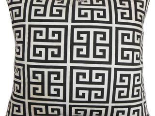 Set of 2 Paros Greek Key 24  x 24  Down Feather Throw Pillow Black White