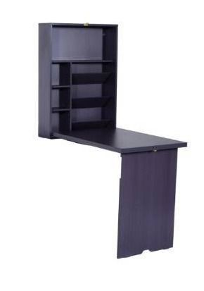 HomCom Compact Fold Out Wall Mounted Convertible Workstation Desk With Storage