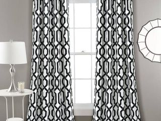Set of 2 95 x52  Edward Trellis Room Darkening Window Curtain Panels White Black   lush Decor