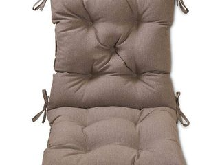 set of 2 taupe  Tufted Outdoor Chair Cushion  Retail 150 98