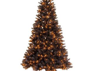 National Tree Company 6 5 ft  North Valleyr Black Spruce Tree with Orange lights