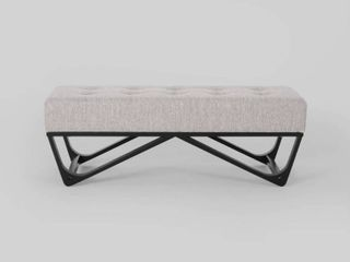 light Gray Black  Assisi Contemporary Fabric Ottoman Bench by Christopher Knight Home  Retail 144 49