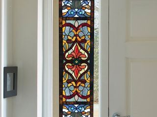 River of Goods 36 in  Stained Glass Victorian Fleur De lis Window Panel