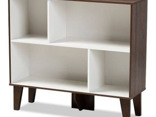 Baxton Studio Senja Modern and Contemporary Two Tone White and Walnut Brown Finished Wood 4 Shelf Bookcase