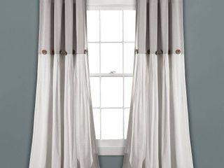 set of 2 63 x40  linen Button light Filtering Window Curtain Panel Gray White   lush Decor