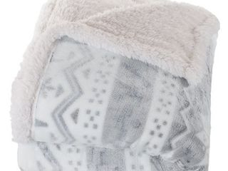 White Grey  Windsor Home Fleece Sherpa Blanket Throw