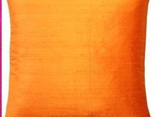 Set of 2 Orange  Pillow Dcor   Sankara Silk Throw Pillows 18x18