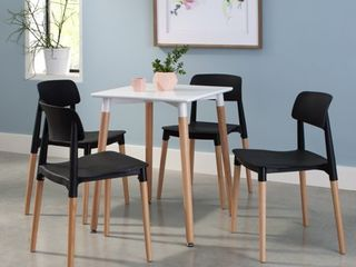 Set of 4 18  Mid Century Modern Plastic Molded Dining Chairs with Solid Natural Wood legs Black   OFM