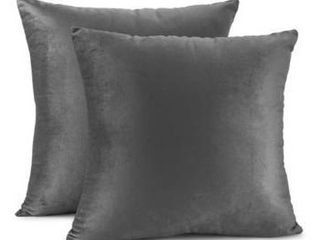 Set of 2 24  x 24    Charcoal Stone Gray  Porch   Den Cosner Solid Color Microfiber Velvet Throw Pillow Cover