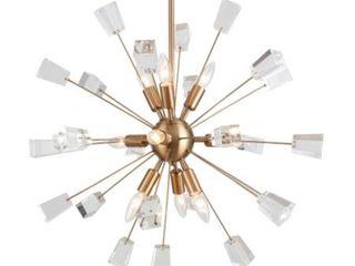 Brass  Woodbridge lighting 17919CBR Stardust 9 light Sputnik Chandelier  Retail 636 99