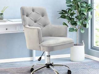 Grey  Tufted Velvet Swivel Adjustable Home Office Chair Sliver glide casters  Retail 282 49