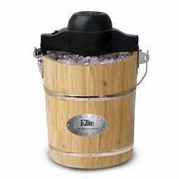Elite Gourmet 6Qt  Old Fashioned Pine Bucket Electric Manual Ice Cream Maker   Pine