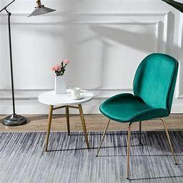 Teal Green  Art leon Beetle Design Velvet Dining Chair with Plated Golden legs  Retail 123 49
