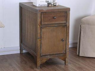 Oak  Furniture of America Sema Rustic Solid Wood 1 drawer Side Table  Retail 249 99