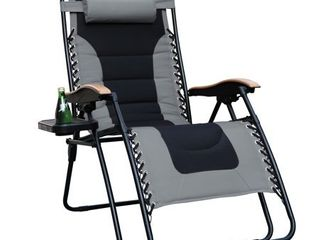 MF Studio Oversize Xl Padded Zero Gravity lounge Chair with Cup Holder  Wooden pattern Armrest  Support 350 lBS  Grey