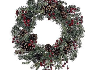 Artificial Wreath   2 Foot  Kurt Adler 18 Inch Battery Operated Red Berry Pinecone lED Wreath   Green   18