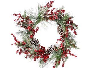 22  Waterproof Berry Pine Cedar W Cones Wreath