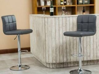 Porch   Den Galena Chrome and Faux leather Height adjustable Barstools  Set of 2    Retail 131 00