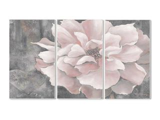 Stupell Pastel Pink Peony on Grey 3 piece Triptych Wall Plaque Set  Retail 93 08