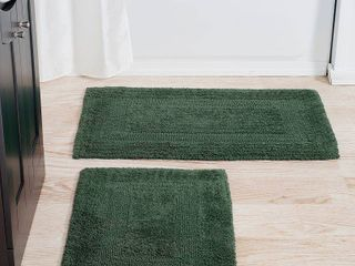 2 Pc Reversible Rug Set in Green Color