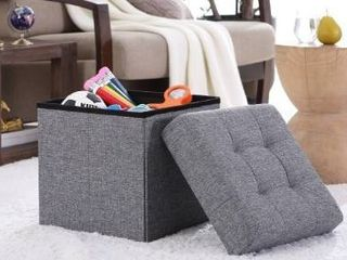 Foldable Tufted linen Storage Ottoman Square Cube Foot Rest Stool Seat   15  x 15  x 15