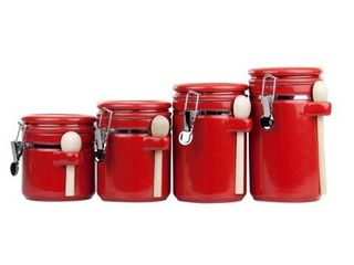 Home Basics Ceramic Canister with Spoon Set  4 Pieces  Red