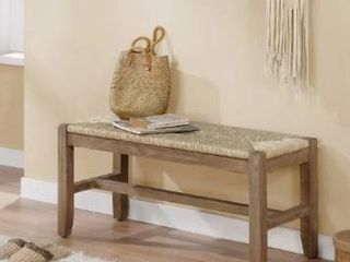 The Gray Barn Enchanted Acre 40 inch Wood Bench with Rush Seat
