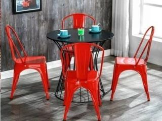 Industrial Style Iron Patio Dining Chairs Stacking Chair  Set of 4    Red