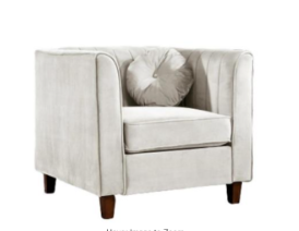 lowery velvet Kitts Classic Beige Chesterfield Chair by US Pride Furniture   Retail Value  283
