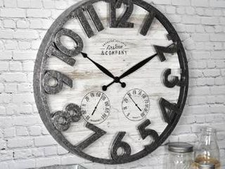 FirsTime   Co  Shiplap Farmhouse Outdoor Wall Clock  American Crafted  light Gray  18 x 2 5 x 18