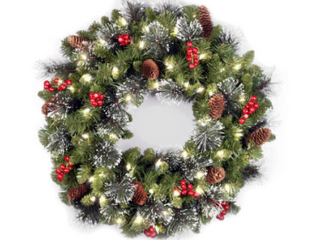 Artificial Wreath   2 Foot  24 inch Holiday Spruce Wreath with Clear lights