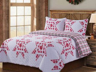 COUNTRY lIVING Angelina 3 Piece Full Queen Quilt Set  Red
