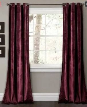 Set of 2  4 panels Porch   Den lapeyrous Velvet Solid Room Darkening Window Curtain Panel Set