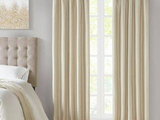 Set of 2 84 x50  lillian Twist Tab Total Blackout Window Curtain Cream