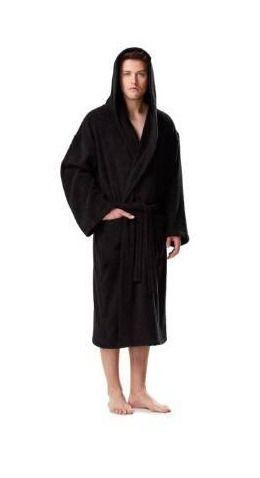 Men s Premium Turkish Cotton Hooded Bathrobe Absorbent and Soft Robe  S M   Black