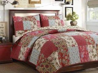 Cozy line Rosemond 3 Piece Floral Patchwork Reversible Quilt Set   King