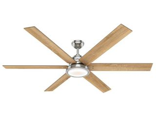 Hunter 70  Warrant Brushed Nickel Ceiling Fan with light Kit and Wall Control