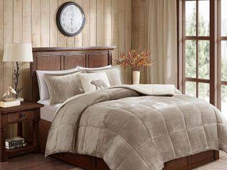 Woolrich T Alton Down Alternative Comforter Set   Taupe Ivory
