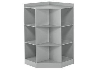 Kids  6 Cubby with 3 Shelf Corner Cabinet Gray   RiverRidge