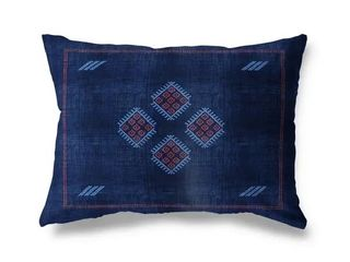 14X20  Kilim Navy lumbar Pillow by Kavka Designs