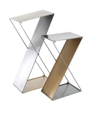Set of 2 Modern Z Shaped Silver Metal Plant Stands by Studio 350 Retail 109 49