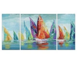 large  Wexford Home  Fine Day Sailing I  Canvas Wall Art  Set of 3  Retail 109 99